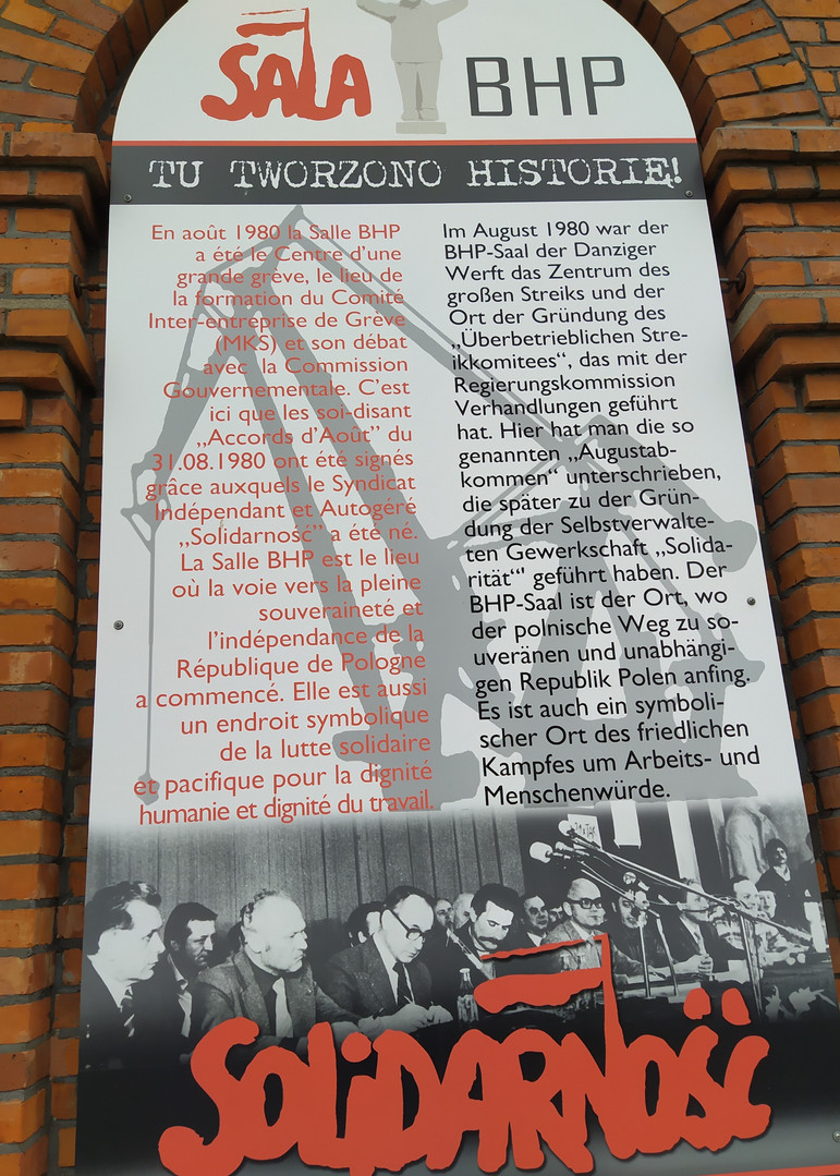 Die historische Halle in der Werft - das Museum der Freiheit in Danzig