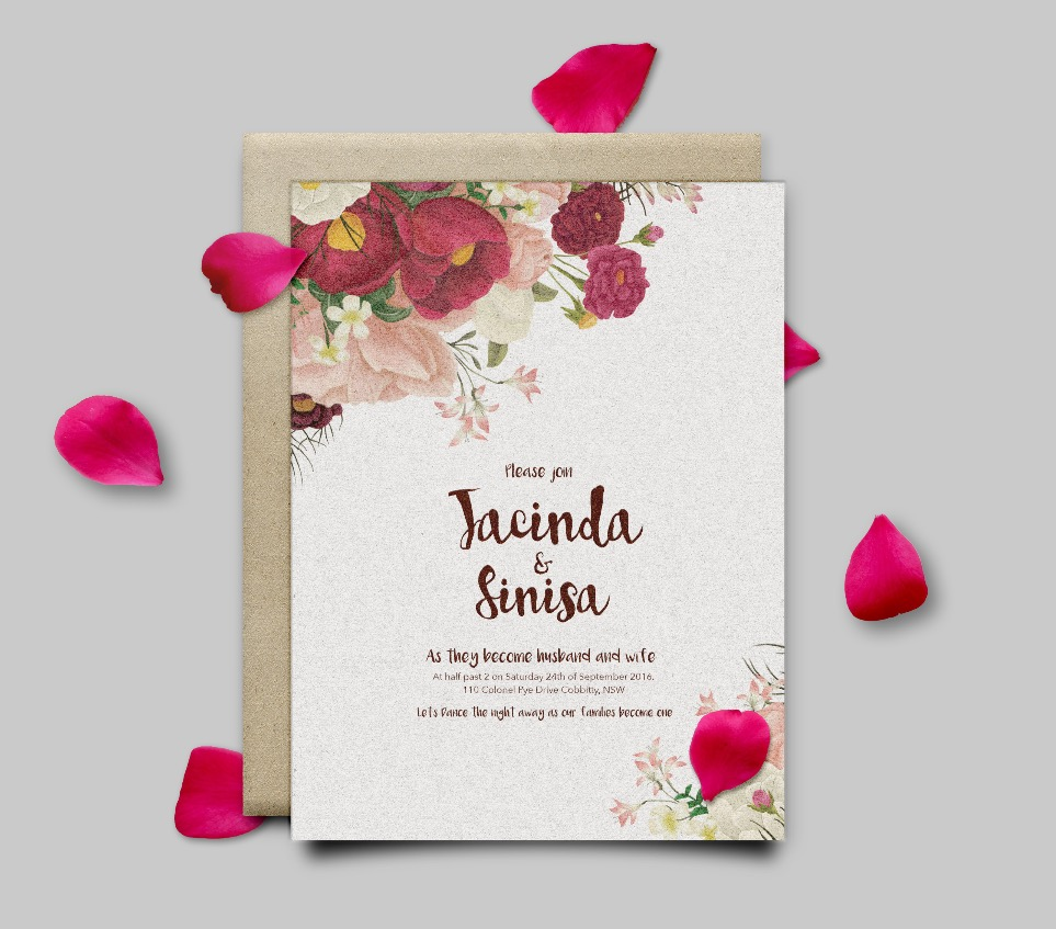 Wedding invitation, custom print