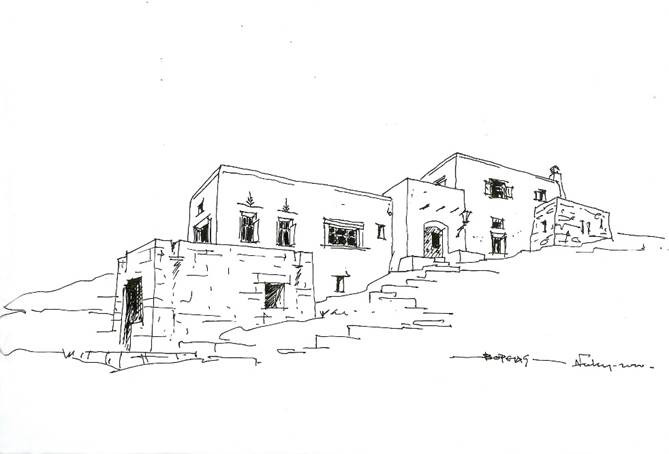 Seafront residence around courtyard in Mykonos, 1999