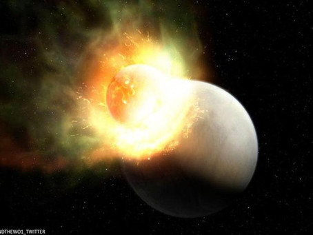 Two Planets Collide in Space, but One of Them Loses its Atmosphere