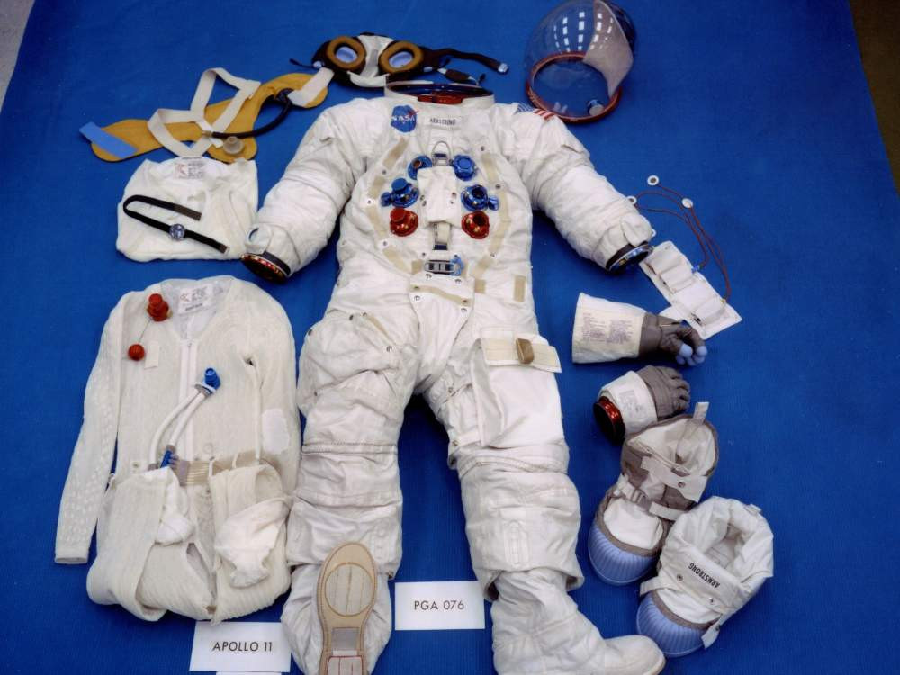 Apollo mission spacesuit with moon walking overshoe (boots) via National Air and Space Museum