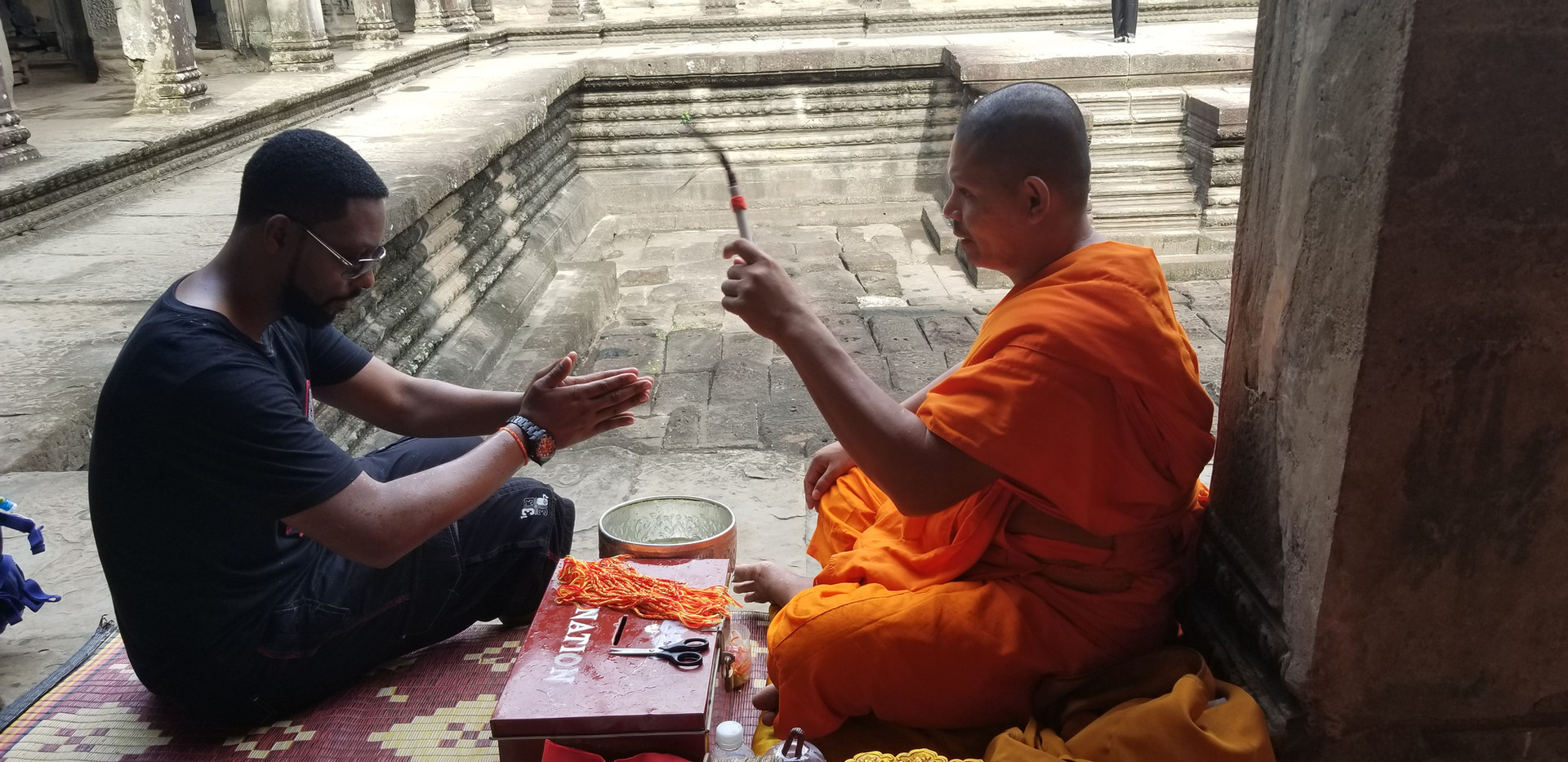 Blessed by Monk in Cambodia