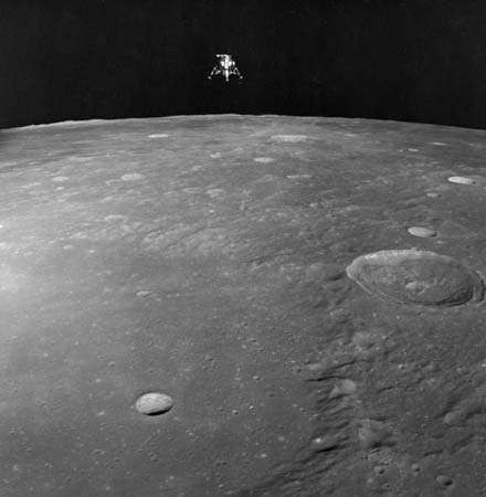 Lunar craters and the lunar module Intrepid as seen from the Apollo 12 command module Yankee Clipper, Nov. 19, 1969. - PHOTO TAKEN BEFORE PHOTOSHOP EXISTED!!!