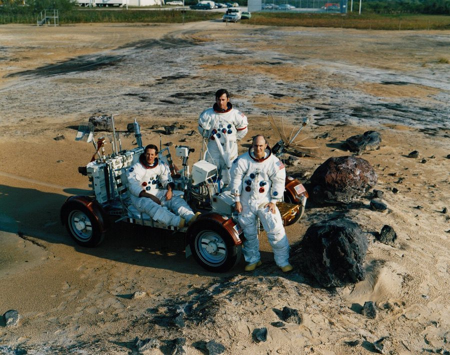 Original photo of Apollo crew taking a training photo at Cape Canaveral in Florida