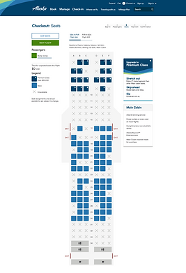 Seat Map, Classic, Main fare Increased S