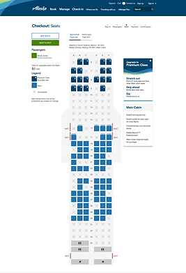 Seat Map, Classic, Main fare Extension C