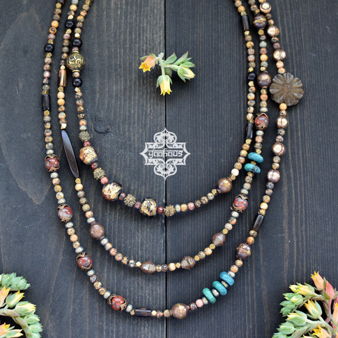 Wrap Necklace with Misc Beads