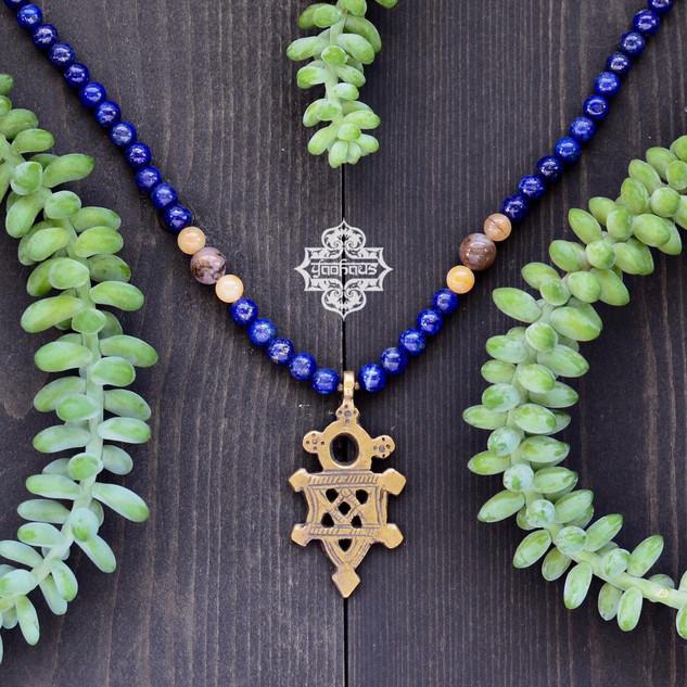 Brass Coptic Cross Pendant with Lapis Lazuli