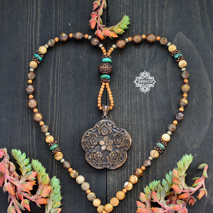 Nepalese Floral Pendant with Picture Jasper