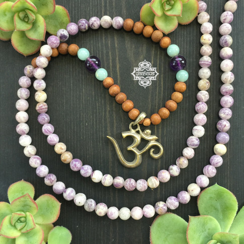 Sanskrit OM with Lapidolite