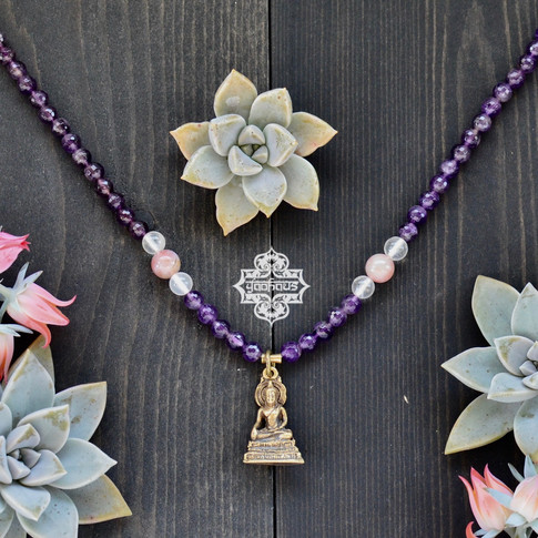 Brass Buddha Pendant w/ Faceted Amethyst