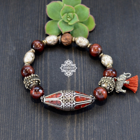 Coral Inlay with Red Tigers Eye