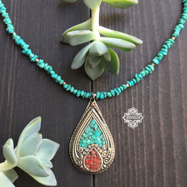 Turquoise & Coral Inlay