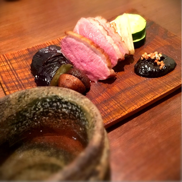 京鴨のロースト蕎麦味噌かけ