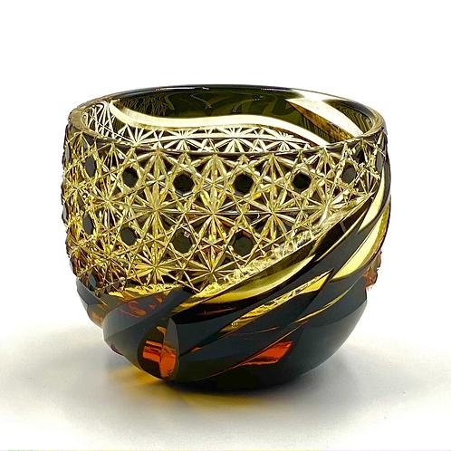 Fukagawa Glass Crafts Otaru Kiriko Ya Gui Drink-Black Amber-