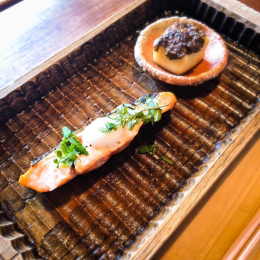 桜鱒の木の芽焼きと凍み豆腐の蕗味噌焼き