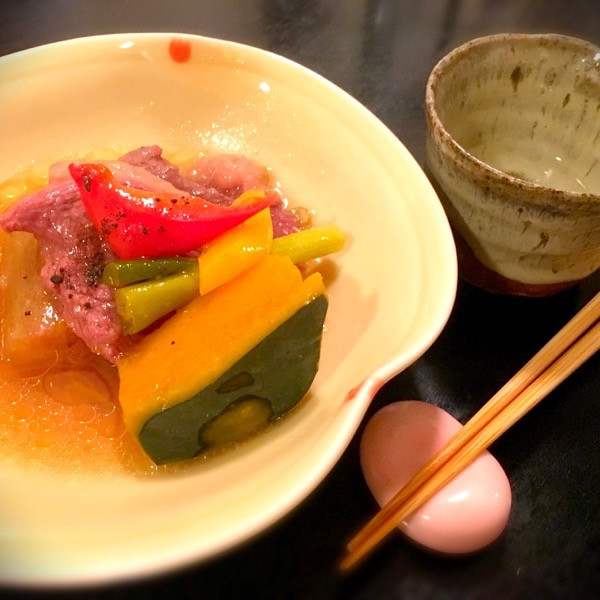 合鴨と野菜の炊き合わせ