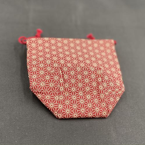 トクエおばあちゃんの巾着 麻の葉【赤】