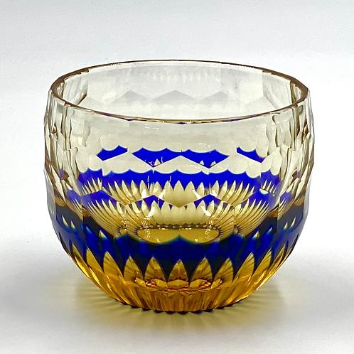 Fukagawa Glass Crafts Otaru Kiriko Yoshiyuki-Ruri Amber-
