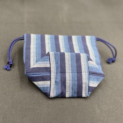 トクエおばあちゃんの巾着 縦縞【青】