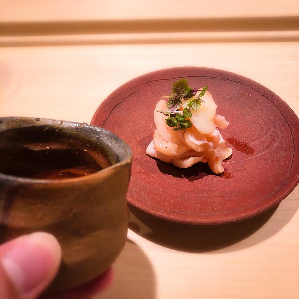 白バイ貝と百合根の梅肉和え