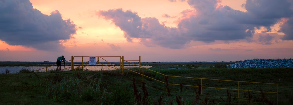 Levee at sunset