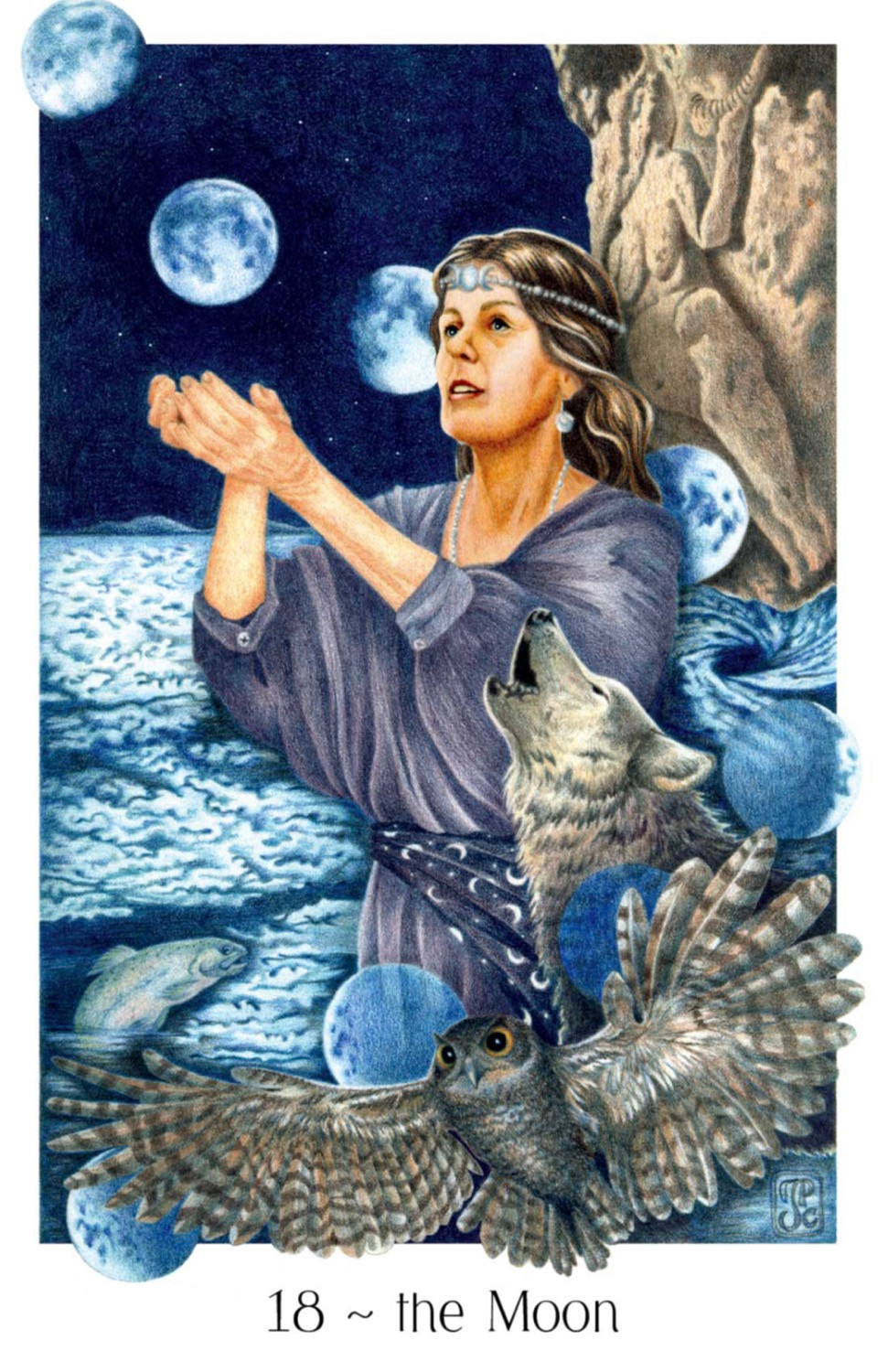 Gaian Tarot, The Moon, Tarot, Major Arcana
