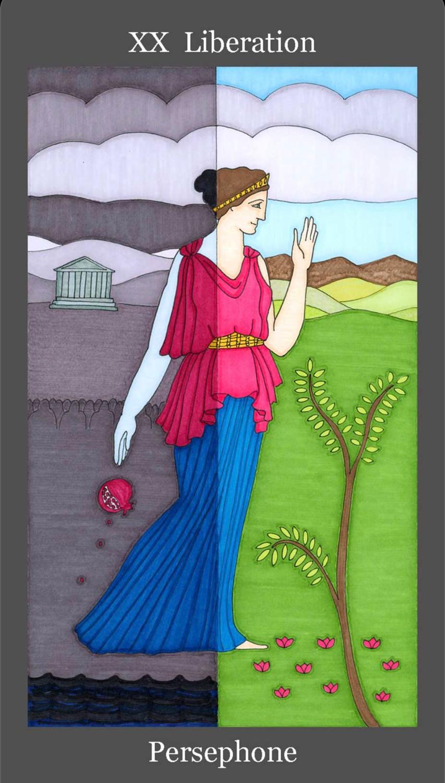 XX Liberation, Judgement, Tarot Card, Dark Goddess Tarot, Persephone