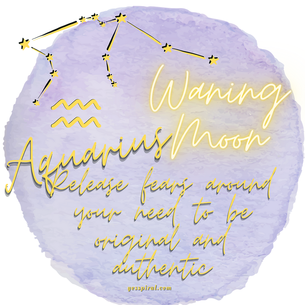 Aquarius Waning Moon, Purple, Gold letters, Relase fears around your need to be original and authentic