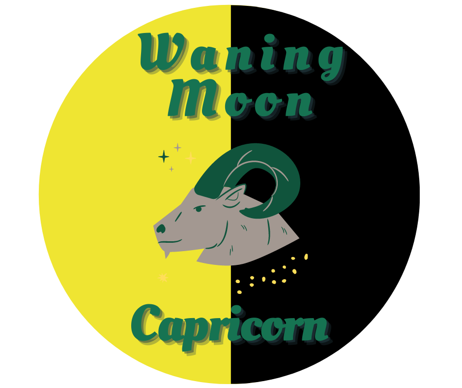 Capricorn Goat in a third quarter waning half moon