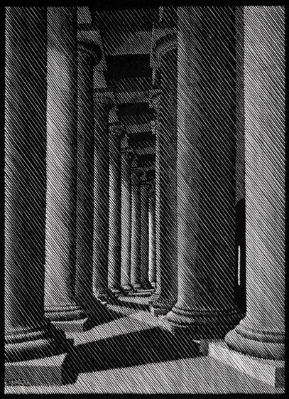 Nocturnal Rome: Colonnade of St. Peter (Portico of Bernini)