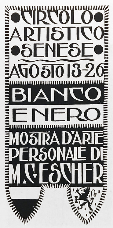 Announcements card for Exhibition M.C. Escher, Siena