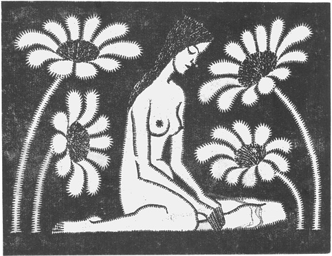 Seated Female Nude With Flowers