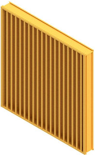 "Americlad AC-95SCV Vertical 5"" wind driven rain louver with a channel frame"