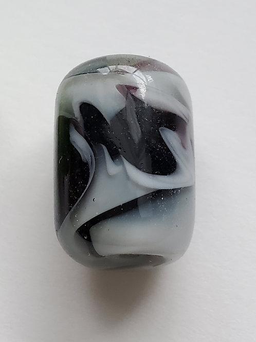 Perles en verre, allongé noir et gris