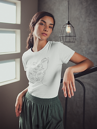 girl-wearing-a-t-shirt-mockup-leaning-on