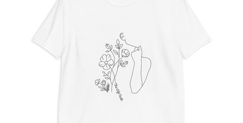 Short-Sleeve T-Shirt - Flowers and person line art