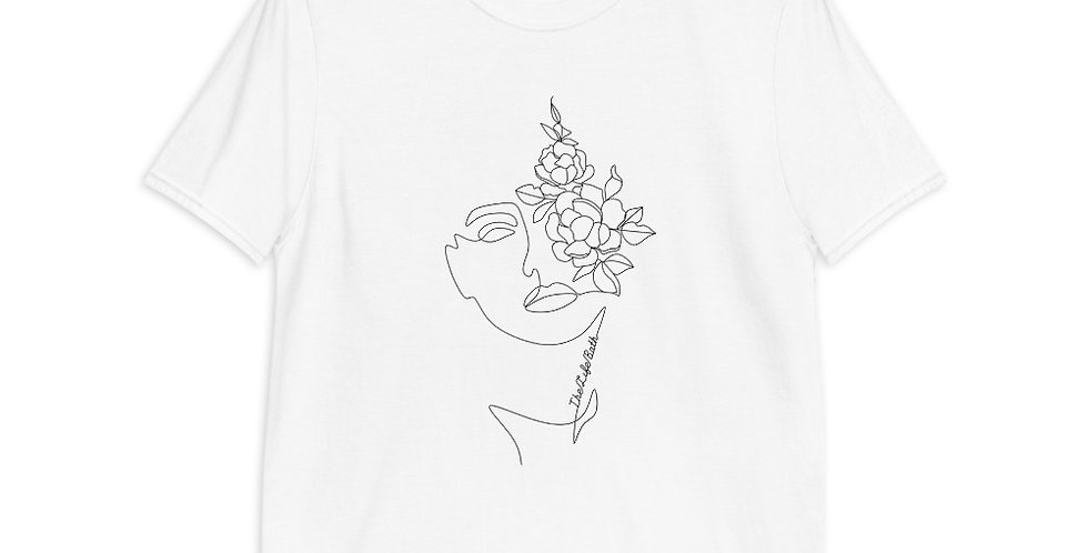 Short-Sleeve T-Shirt - Faces and flowers line art