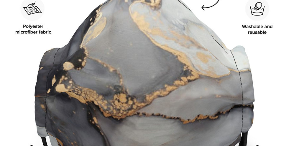 Face mask - Grey and Gold Marble