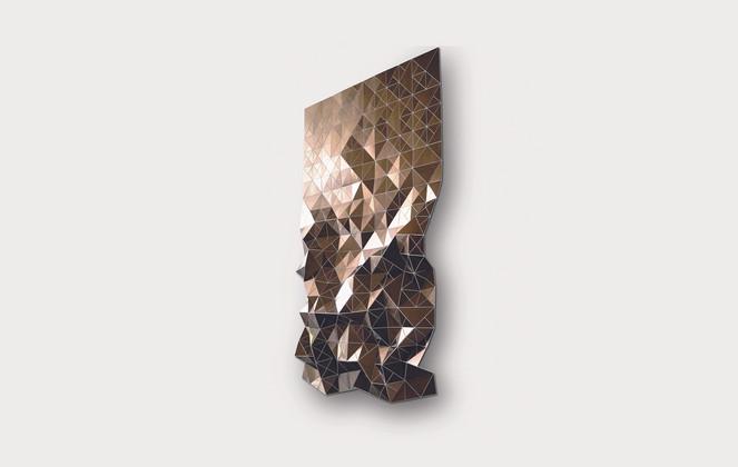 Cascading Flow in Bronze/White Acrylic Laminate, Polyethylene Fiber, Vinyl, Plexiglass   72 x 48 in
