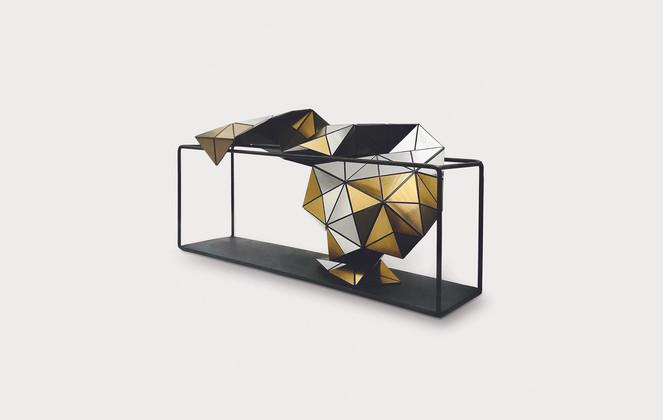 Folding Flow in Silver/Bronze Acrylic Laminate, Polyethylene Fiber, Magnets, Metallic Frame   12 x 8 x 4 in