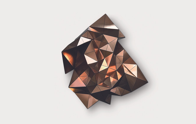 Volume in Copper/Black Acrylic Laminate, Polyethylene Fiber, Magnets   36 x 36 in