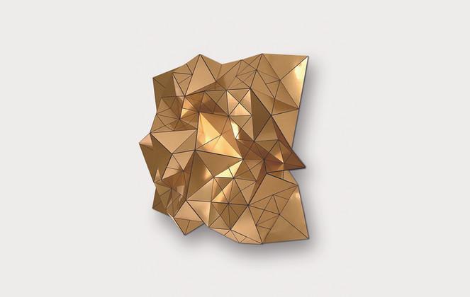 Volume in Gold/ Black Acrylic Laminate, Polyethylene Fiber, Vinyl, Plexiglas   36 x 36 in