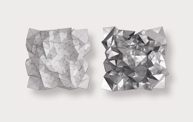 Diptych white/silver Acrylic Laminate, Polyethylene Fiber, Vinyl, Plexiglas   48 x 48 in (each)