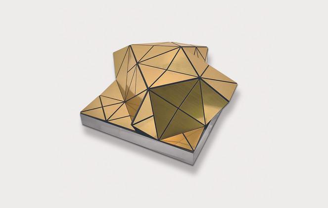 Small Volume in Gold Acrylic Laminate, Polyethylene Fiber, Magnets, Plexiglas   8 x 8 in