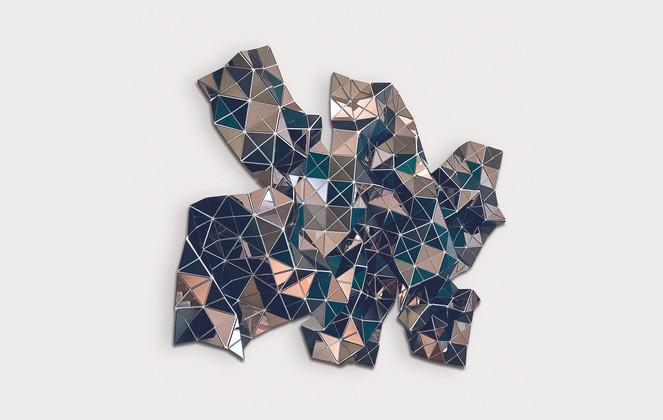 Reflective Asymmetry Bronze/Green Mirror Acrylic, Vinyl, Polyethylene Fiber, Magnets   55 x 55 in