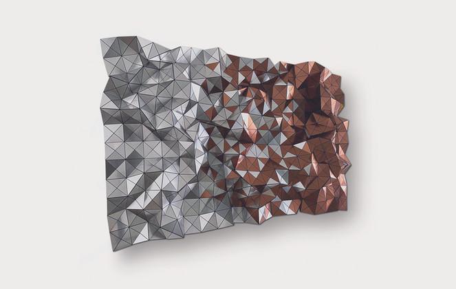 Folded Blend Silver/Copper Acrylic Laminate, Polyethylene Fiber, Vinyl, Plexiglass   60 x 36 in