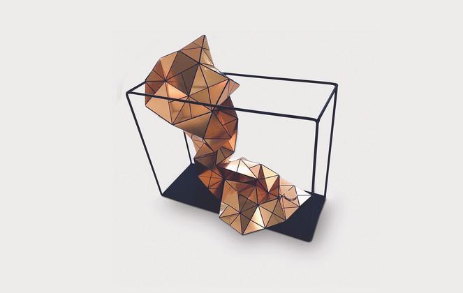 Folding Flow in Copper Acrylic Laminate, Polyethylene Fiber, Magnets, Metallic Frame   14 x 10 x 4 in