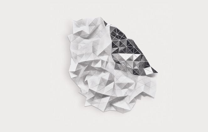 Reversible Folds white/silver Acrylic Laminate, Polyethylene Fiber, Magnets   30 x 30 in