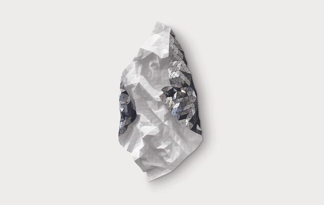Reversible Rhombus White/Silver Acrylic Laminate, Polyethylene Fiber, Magnets   70 x 48 in